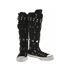 Converse As Xx Hi Studs - 3 Uk - Black - Fabric: Amazon.co.uk: Shoes &... ❤ liked on Polyvore featuring shoes, women shoes, kohl womens shoes, studded shoes, black studded shoes and converse footwear