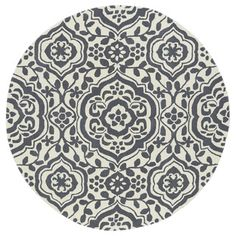 Shop for Runway Charcoal/Ivory Damask Hand-Tufted Wool Rug (7'9 Round). Get free shipping at Overstock.com - Your Online Home Decor Outlet Store! Get 5% in rewards with Club O!