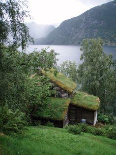 Living roof cabin overlooking Jølstravatnet, in Vestland, Norway