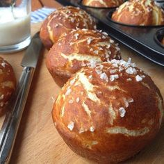 """"""" - Food """": Laugenmuffins - My list of simple and healthy recipes Savoury Baking, Bread Baking, Good Food, Yummy Food, Vegan Nutrition, Bread And Pastries, Healthy Muffins, Vegan Cake, Sin Gluten"""