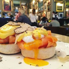 Truffle Eggs Royale at Berners Tavern by @foodie.bunny. Also check out @breakfastlondon for London's best breakfast joints! ;) @bernerstavern @_jasonatherton #toplondomnrestaurants #topcitybites #breakfast #london #eggs #salmon #truffle #yolkporn