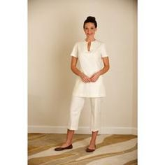 Fashionable women's beauty trousers in cream cotton fabric, for spa staff & beauty therapists. For sizes & colours see our spa wear uniform shop