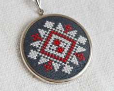 Ethnic Cross stitch necklace white and red on black by skrynka