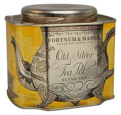 "Fortnum & Mason's ""Old Silver Tea Pot"" tea blend in an elegant tin."