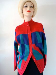 1980s Courreges Sweater / Vintage Cardigan with Color Block Design