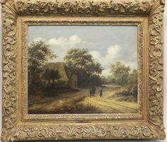 Meindert Hobbema, 1638 Amsterdam - 1709 ebenda,idyllisches Landschaftsgemälde mit Bauernkate und Fi