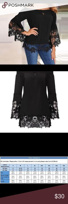 Sexy Black Off Shoulder Flare Sleeve Lace Top Sexy Black Off Shoulder Flare Sleeve Lace Top.  Material	Polyester,Other Clothing Length	Regular Fabric Type	Broadcloth Sleeve Length(cm)	Full Decoration	 Lace Pattern Type	Patchwork Collar	Slash neck Sleeve Style	Regular Tops Blouses