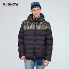 69.90$  Buy here  - VIISHOW mens jacket men's hooded wadded coat winter thickening outerwear male slim casual cotton-padded outwear