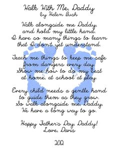 Perfect for the daddy frame =) Sometimes Daddies need to be reminded that everything they say and do and how they treat Mommy is being watched and will be emulated at some point. Walk with Me Daddy- to make for Valentines Daddy Day, My Daddy, Daddy Daughter, Daughters, Husband, Daddy Gifts, Gifts For Dad, Parent Gifts, Family Gifts