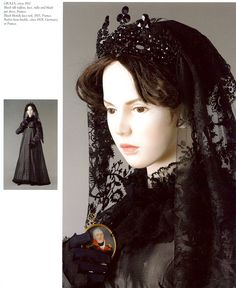 c.1810, France. mourning costume. Black silk taffeta, tulle and black jais dress. Black blonde lace veil. Berline iron buckle
