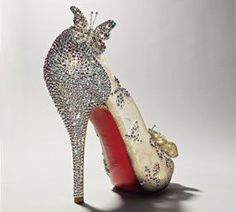 "Christian Louboutin's Disney-inspired Cinderella heel. A ""glass slipper"" that makes us swoon!"