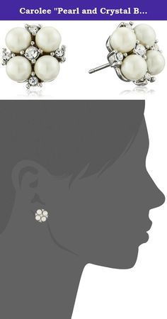 """Carolee """"Pearl and Crystal Basics"""" The Caitlin Floral Motif Pierced Stud Earrings. Silver-tone button earrings featuring flowers fashioned from faux pearls and glass rounds. Imported. Delicate flower! These stunning petite flower studs are perfect with a sundress, a little black dress, or a wedding dress!."""
