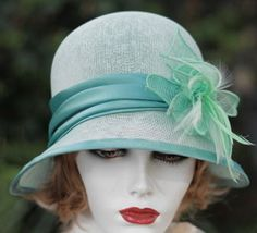 Spring Summer Mint Green Vintage Style Cloche Hat