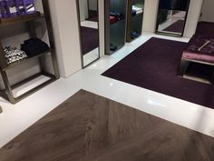 3 floor finishes (epoxy, vinyl plank and carpet) Floor Finishes, Epoxy, Plank, Floors, Carpet, Contemporary, Home Decor, Home Tiles, Bulletin Boards