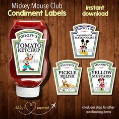 These Paw Patrol condiment labels are perfect for your little ones birthday celebration. The labels fit the larger Heinz squeeze bottles. Mickey Mouse Clubhouse Birthday Party, Mickey Birthday, Mickey Party, Third Birthday, 3rd Birthday Parties, Birthday Ideas, Birthday Celebration, Chuggington Birthday, Snoopy Birthday
