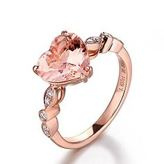 Black Hills Gold Wedding Heart Morganite Engagement Ring Pave Diamond Wedding Rose Gold Art Deco - Lord of Gem Rings - 1 Black Hills Gold Jewelry, Rose Gold Jewelry, Heart Jewelry, Cute Jewelry, Jewelry Accessories, Jewelry Rings, Gold Jewellery, Morganite Engagement, Diamond Engagement Rings