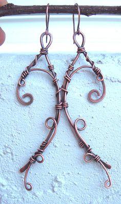 fall earrings wire wrapped earrings bohemian by Kissedbyclover