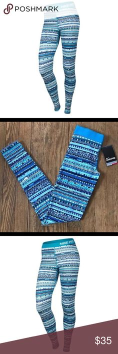 Nike Women's ProWarm 8-Bit Tights -Blue Lagoon- XS New With Tags Nike Pro Women's 8 Bit Nike Pro Warm Tights Style: 683717 407 Color: Blue Lagoon Printed Design Size: XS Retail: $55.00  Specifics: They're soft, warmth, comfortable, and built to sweat in. In a stylish, seasonal print, these tights will quickly become part of your go-to training outfit.  Waistband has a looped back to ensure your tights stay in place throughout any movement. Back seam is curved for a more flattering fit…