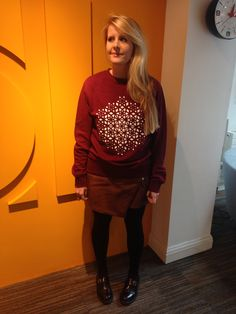 Nicola Toomey Architectural Assistant, Denovo Design in her 'Team Reflection' sweat shirt, emblazoned with the design that will be constructed in the Nevada desert
