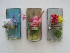 Shabby chic vases sconce mason jar wood vase wall decor cottage decor - set of THREE They are painted # 19 Turquoise Blue # 34 Khaki Tan & # 27 Diy Wall Decor, Decor Crafts, Room Decor, Diy Crafts, Stall Decorations, Mason Jar Gifts, Mason Jars, Antique Booth Displays, Wood Vase