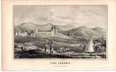 Fort Laramie (Wyoming) 1845 Antique Litho Print by E. Weber & Co Baltimore