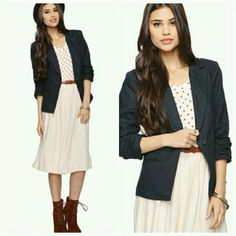 NWT Forever 21 navy blazer, small Brand new with tags!  The blazer is the small as the one shown in the model pics! 1021610tc Forever 21 Jackets & Coats Blazers