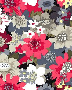 Blossoms - Garden Penache - Raspberry Red Kathy Hall for Andover Fabrics.