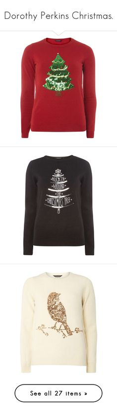 """""""Dorothy Perkins Christmas."""" by crazygirlandproud ❤ liked on Polyvore featuring tops, sweaters, red, red top, sequin jumper, red sequin sweater, red sequin top, jumpers sweaters, black and christmas jumpers"""