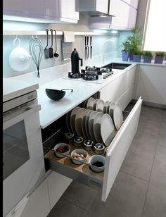 Axis Cucine Venus modern kitchen cabinet modular system. drawers for storage.