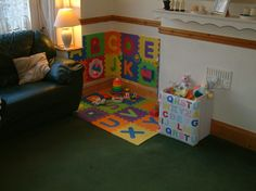 A Babys Play Corner in the Living Room! A Babys Play Corner in the Living Room! Kids Play Corner, Toy Corner, Toddler Play Area, Baby Play Areas, Toddler Rooms, Corner Space, Toddler Playroom, Infant Play, Infant Room