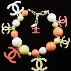 RARE 2004 Chanel Bead Charm Bracelet Pink Yellow White France Couture