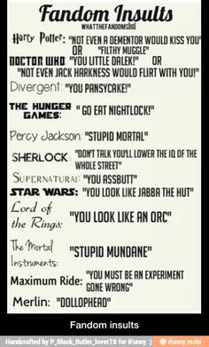 Fandom Insults. Sorry for the bad language for the Supernatural.