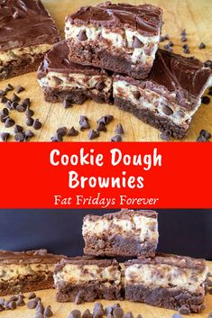 Rich brownie topped with eggless cookie dough and ganache