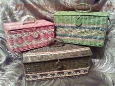 ▬ ► How to weave from newspaper chest tubes - II / How to weave paper Chest Paper Weaving, Weaving Art, Paper Basket, Basket Bag, Basket Drawers, Crochet Box, Yarn Bag, Newspaper Crafts, Art N Craft