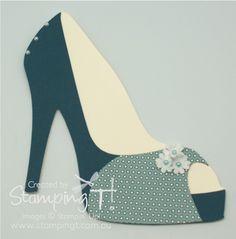 Stampin' Up! Stamping T! - High Heel Shoe Card - Toe Strap Version    good tuts waterfall card video