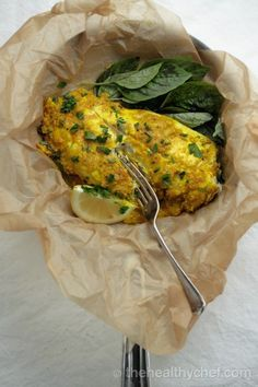 the healthy chef Steamed White Fish In Ginger + Turmeric