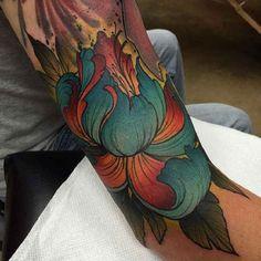 Colorful Will Make Flowers Blooms Arm Tattoo #Tattoo, #Tattooed, #Tattoos
