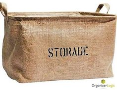Jute Storage Baskets, Eco-Friendly. Storage Bins are perfect for organizing the Nursery, Beauty Products, Office Supplies, Gift Baskets