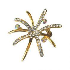 Crystal Starfish Pin