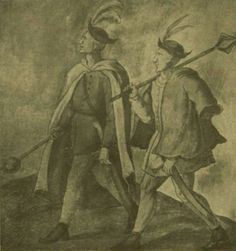 Hungarian Infantry, 16th century  Note that the dolmany don't button the same way as each other. Also silly hats.  Hungarian Infantry, 16th century after Aurél Richter