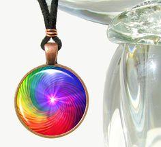 Rainbow Chakra Swirl Pendant Necklace Spiritual by primalpainter