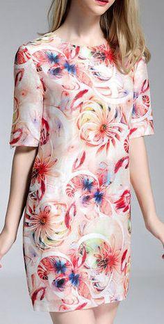 Floral Print Linen & Silk Dress