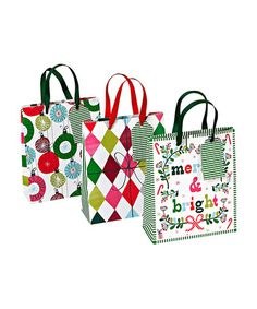 Take a look at this Merry & Bright Gift Bag Set by Home for the Holidays: Entertaining on #zulily today!