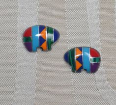 Zuni Fetish Bear Earrings and Necklace (Multi Inlay)