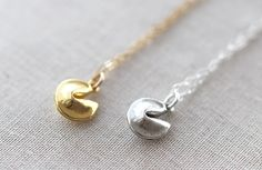 Fortune Cookie Necklace |  Gold or Silver Fortune Cookie Necklace | Good Luck Charm by amandadeer on Etsy (null)