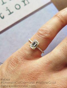 Alaia Custom Emerald Cut Diamond Engagement Ring - Ultra Thin w/ Pave – Dana Walden Bridal :: Engagement Ring Designers - NYC