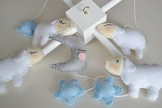 Light Blue Sheeps Baby Mobile Crib Mobile Nursery by TheMemis, $85.00