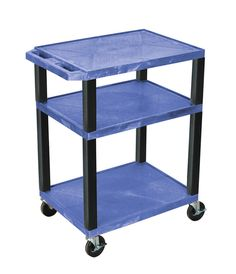 H Wilson WT34BUE-B H. Wilson Tuffy Blue 3 Shelf AV Cart