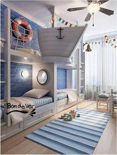 adorable nautical boys' bunk room coolest boys room ever!!