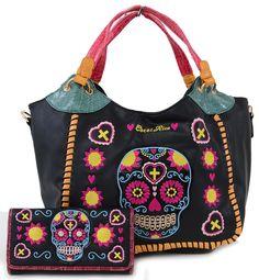 Colorful Day of the Dead Sugar Skull Embroidery Handbag & Wallet Set - My Sugar Skulls
